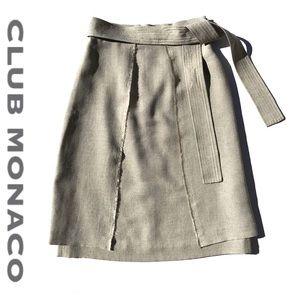 Club Monaco Linen-Like ivory, tan A-Line skirt 00